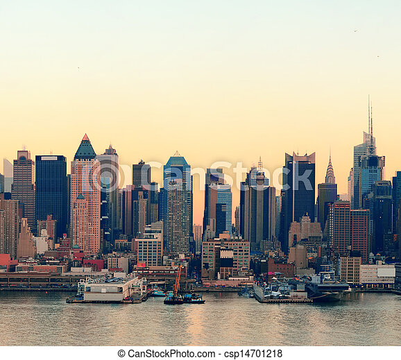 New York City sunset - csp14701218
