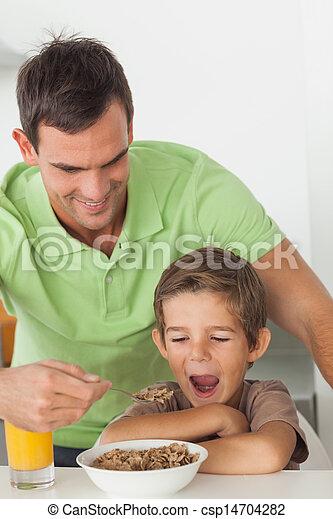 Dar, seu, pai,  cereal, filho - csp14704282