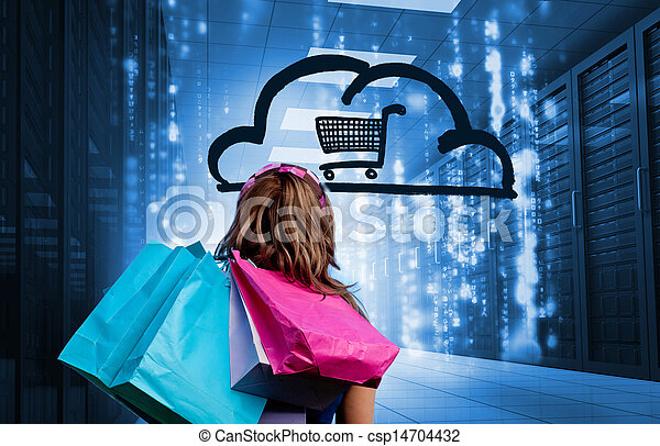 Woman in a data center holding shop - csp14704432
