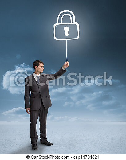 Businessman holding a floating padl