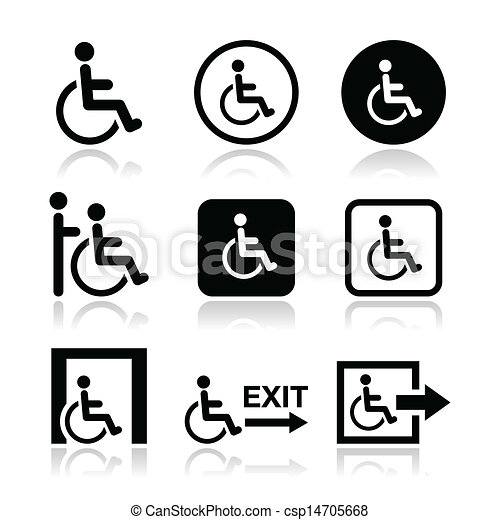 Man on wheelchair, disabled icons - csp14705668