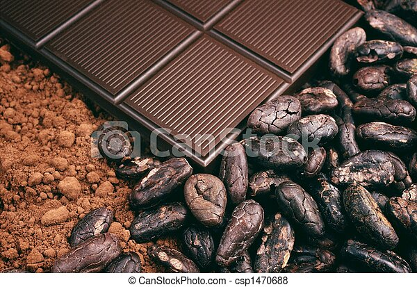 Bar of chocolate, cocoa beans - csp1470688