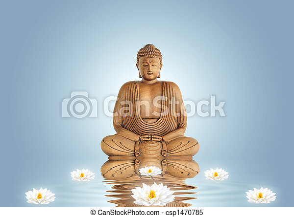 Buddha and Lily Flowers - csp1470785