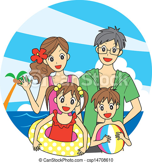 Vector Clip Art of Family at the beach - young family at ...