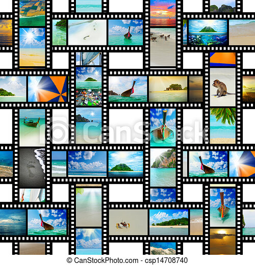 Film strip with beautiful holiday pictures - csp14708740