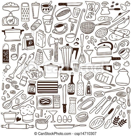 Kitchen Tools Drawings vector clipart of kitchen tools - doodles collection csp14710307