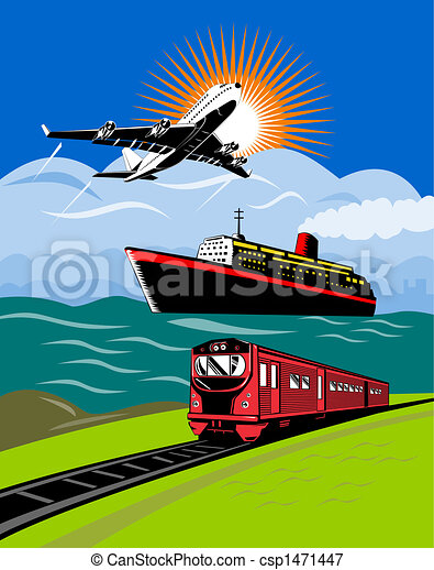Plane, train and ship - csp1471447