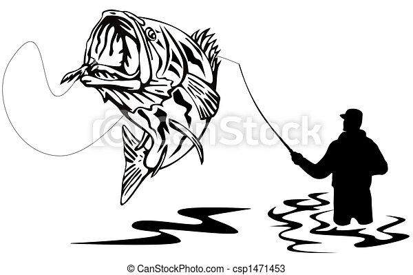 Fisherman catching a bass - csp1471453