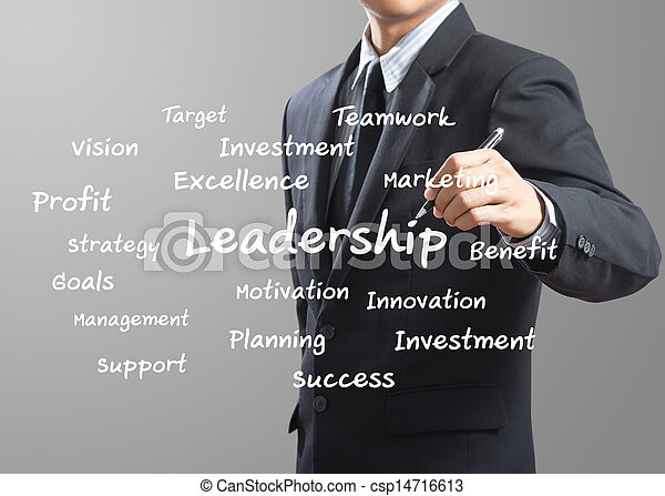 business man writing Leadership - csp14716613