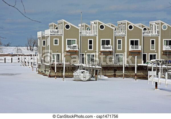 Frozen harbor in the Midwest - csp1471756