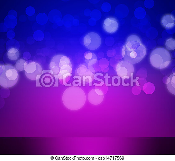 Blue and purple elegant abstract background with bokeh lights - csp14717569