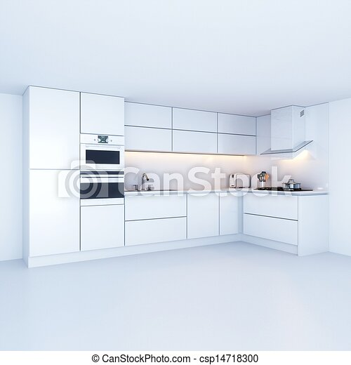 Stock Illustration Of Modern Kitchen Cabinets In New White Interior Csp14718300 Search Clipart