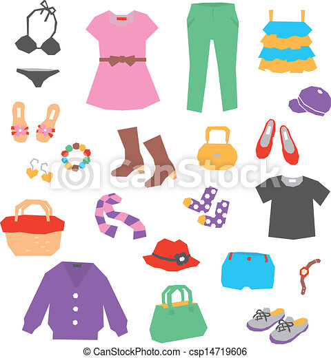 Vector - Women's clothing and accessories - stock illustration