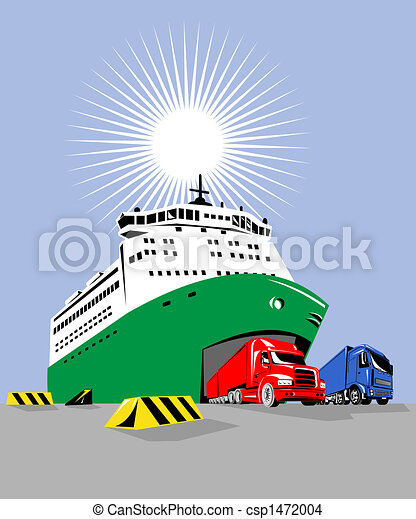 Drawing of Ferry boat with trucks coming out - Illustration on marine ...