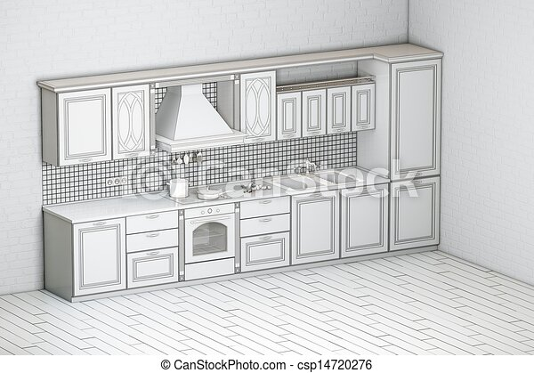Rough Draft Of Classic Kitchen Clip Art Instant Download Csp14720276