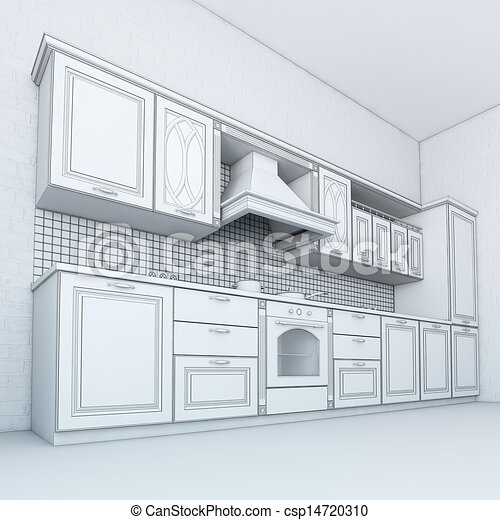 Clipart Of Rough Draft Of Classic Kitchen Cabinet Third Version Csp14720310 Search Clip Art