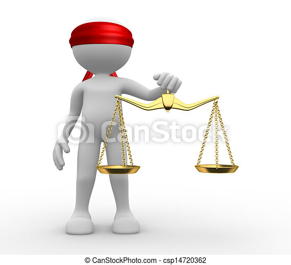 3d man with weight scale. Symbol of justice. - csp14720362