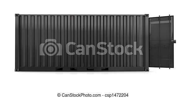 black container on white background - csp1472204