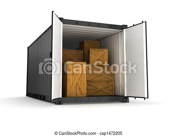 black container on white background - csp1472205