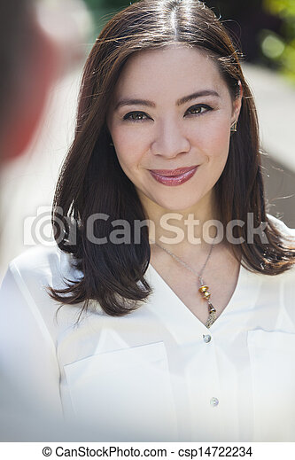 Smiling Young Asian Woman or Businesswoman - csp14722234