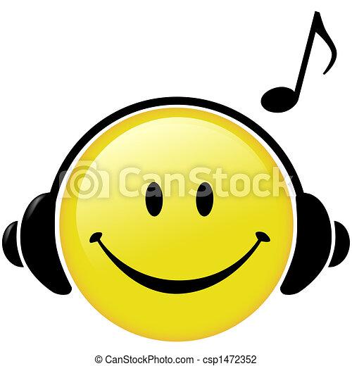 feliz, Música, auriculares, musical, nota - csp1472352