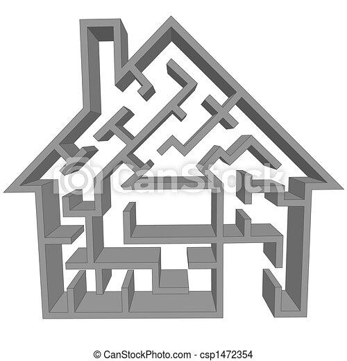 Maze home as a symbol of house hunt - csp1472354