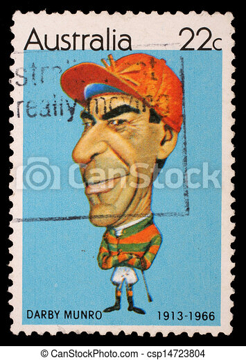 Australia, -, hacia, 1981:, Un, estampilla, impreso, Australia, exposiciones, australiano, deportistas, (Caricatures, tony, Rafty):, jinete, Darby, Munro, (1913-1966), hacia, 1981 - csp14723804
