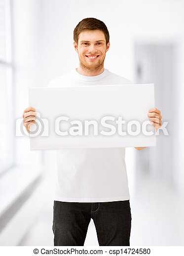 young man holding white blank board - csp14724580