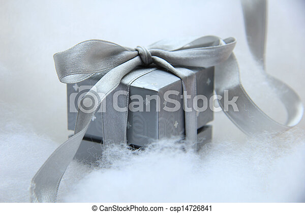 Luxury christmas gift in a silver box with a grey silver satin ribbon