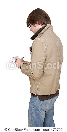 male journalist with notepad - csp1472702