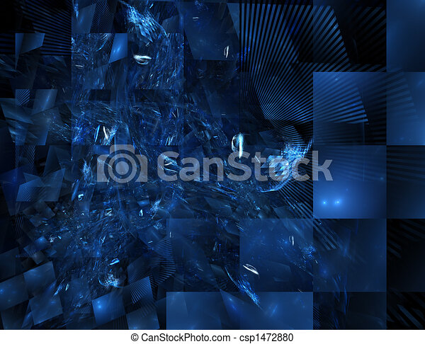 blue stained glass fractal - csp1472880