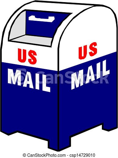 Vector Clip Art of Blue Mailbox icon vector illustration csp14729010 ...