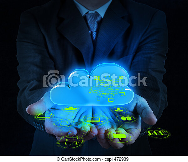 Businessman hand working with a Cloud Computing diagram on the new computer interface as concept - csp14729391
