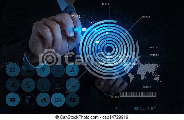 businessman hand drawing virtual chart business  - csp14729919