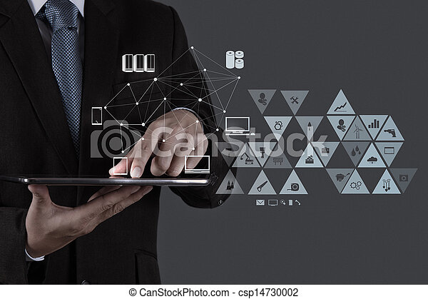 businessman working with new modern computer show social network structure - csp14730002