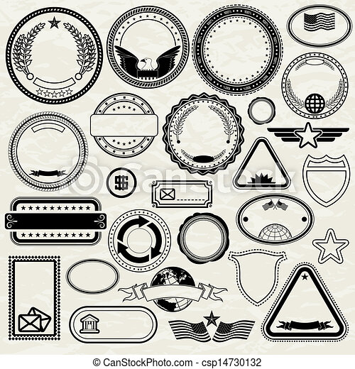 Drawings Of Set Of Various Stamp Design Blank Templates