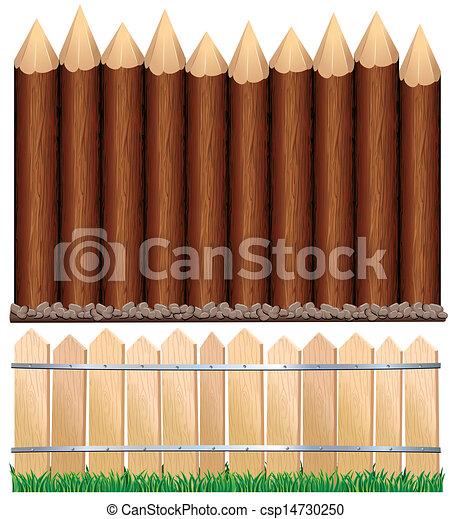 Illustration of Rural Wooden Fence. - csp14730250