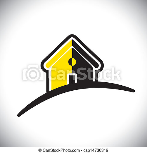 abstract residential house(home) icon(symbol)- vector graphic - csp14730319