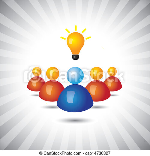successful executive or employee with ideas- simple vector graphic. This illustration can also represent manager and his staff, political or business leader and followers, winning executive or person - csp14730327