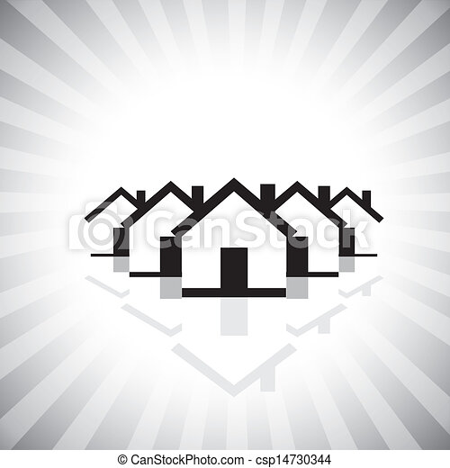 residential real estate or property market icon(symbol) of houses. This vector graphic can also represent construction industry, realty business of buying & selling property, etc - csp14730344