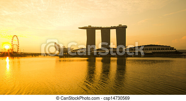 Marina Bay view with sunrise. Singapore - csp14730569