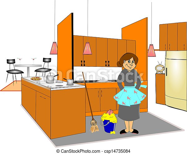 Cleaning Kitchen Clip Art