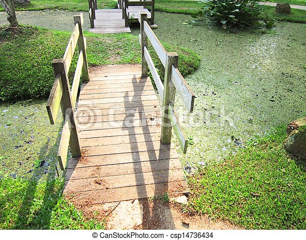 Two Connecting bridges on top pond - csp14736434