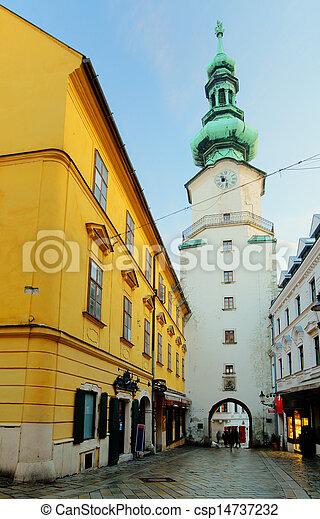 Bratislava - Michael Tower (Michalska Brana), Slovakia. Historic City Gate. - csp14737232