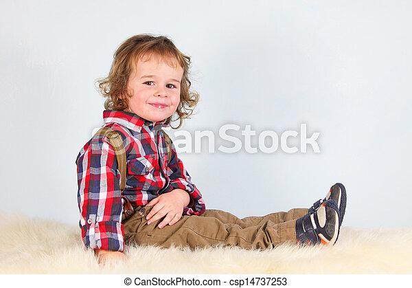 Little boy in rural clothes - csp14737253