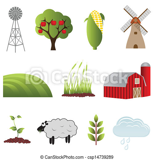 Farm and agriculture icons - csp14739289