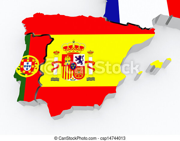 Clipart of Map of Spain and Portugal. 3d csp14744013 - Search Clip ...