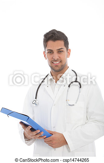 Handsome male doctor with a file - csp14744265