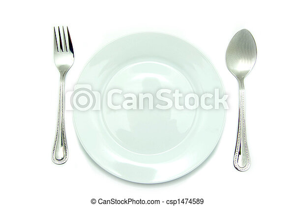 Stock Photographs of place setting - Knife and fork silverware with white plate...