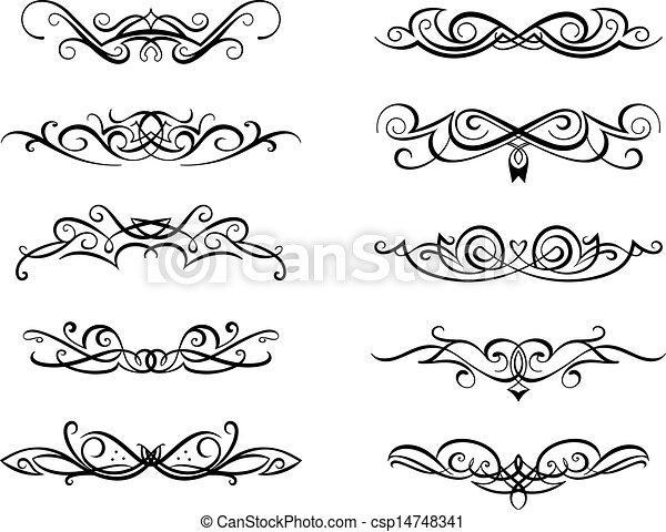 Viñetas, monogramas, Conjunto, vendimia, floral, estilo, diseño